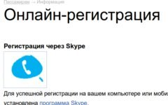 Регистрациия пассажиров через Skype на сайте аэропорта Шереметьево