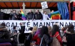 Митинг в поддержку однополых браков. Стоп-кадр с видео в YouТube