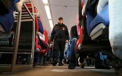Сотрудник службы безопасности проверяет электропоезд «Ласточка» перед отправлени