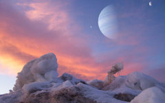 Вид на экзолуны с экзопланеты. Изображение с сайта space.com