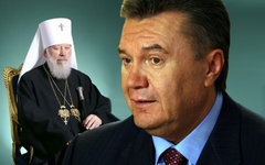 Митрополит Владимир и Виктор Янукович. Коллаж © KM.RU