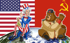 Карикатура времен СССР на тему холодной войны с сайта rossaprimavera.ru