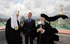 Патриарх Кирилл, Дмитрий Медведев и Варфоломей I (патриарх Константинопольский)