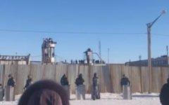 Акция протеста в копейской колонии. Скриншот с видео на YouTube