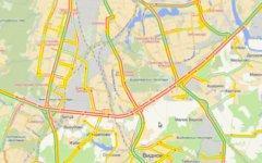 Пробка на юге Москвы. Иллюстрация с сервиса «Яндекс.Карты»