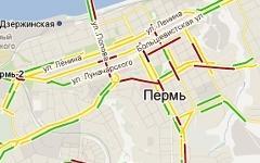 Пробки в Перми. Скриншот с maps.google.ru