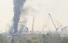 Пожар на стадионе «Спартак». Фото пользователя Instagram zhelninsv