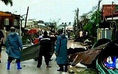 Последствия тайфуна. Стоп-кадр с видео в YouTube