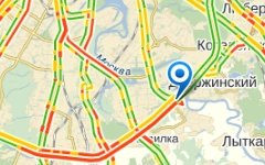 Пробка перед местом ДТП. Изображение с сайта maps.yandex.ru
