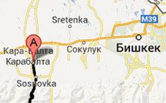 Трасса Бишкек - Ош. Изображение сервиса Google Maps
