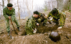 Захоронение останков солдат, погибших в ВОВ © РИА Новости, Юрий Пирогов