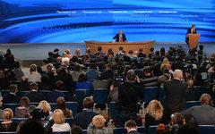 Владимир Путин на пресс-конференции © РИА Новости, Владимир Астапкович