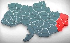 Донецкая и Луганская области на карте Украины. Коллаж © KM.RU