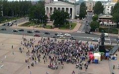Митингующие шахтеры в Донецке. Фото с сайта ostro.org
