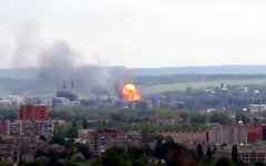 Взрыв в Семеновке. Стоп-кадр с видео в YouTube