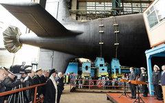 Торжественный спуск подлодки К-560 «Северодвинск» на воду. Фото с сайта kremlin.