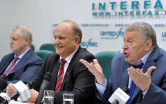 С.Миронов, Г.Зюганов и В.Жириновский © РИА Новости, Александр Уткин