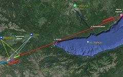 Проекция траектории полета болида. Изображение с сайта irkplanetarium.com