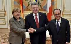 Ангела Меркель, Петр Порошенко и Франсуа Олланд. Фото с сайта president.gov.ua