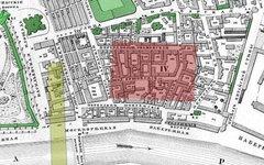 Карта района Зарядье 1853 года. Красное: гостиница «Россия»