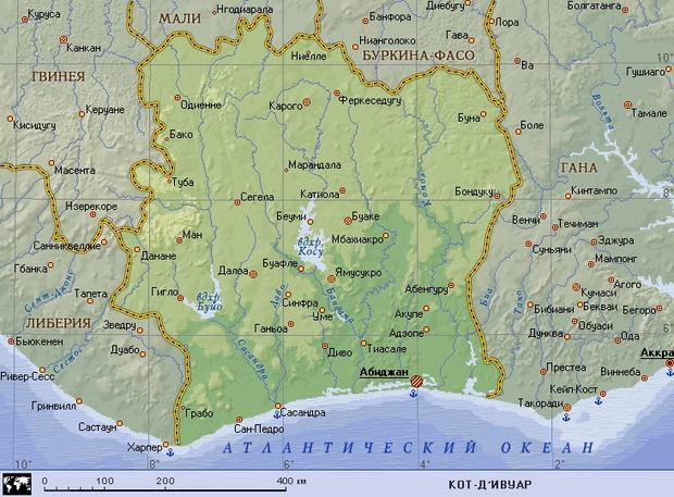 Кот д ивуар географическая карта