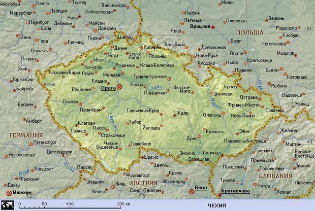 Чехия (географическая карта).