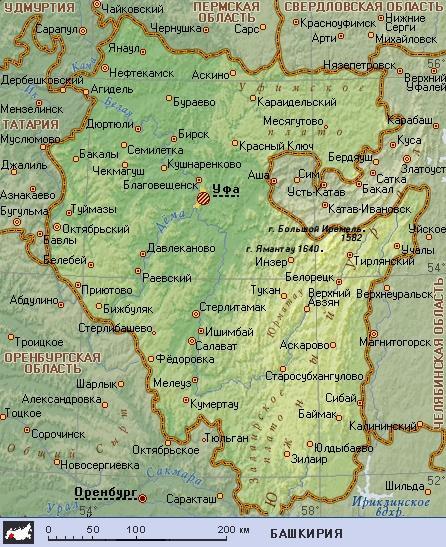 Онлайн карту башкирии географическую