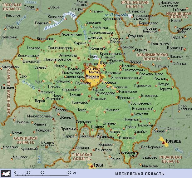 Карта города Клин, Клинский район, ближайшие города