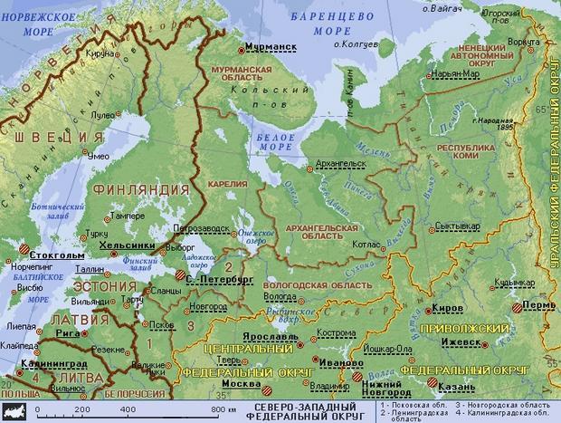Карта Северо-Западного Федерального округа РФ.