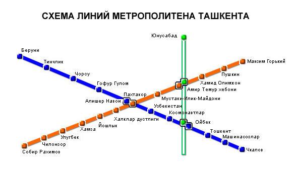 Схема метрополитена Ташкента.