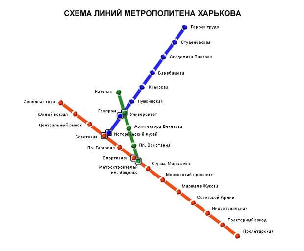 Схема метрополитена Харькова.